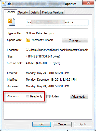 Check to see if a file is marked read-only