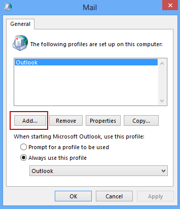 Click Add to create a new Outlook profile