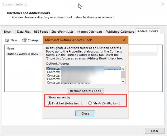 address book settings