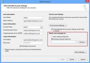 Select an existing pst