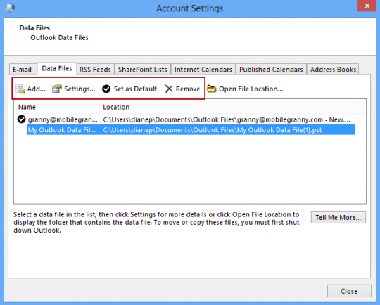 Add existing pst to profile