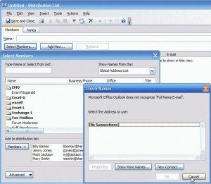 distribution list view dialog