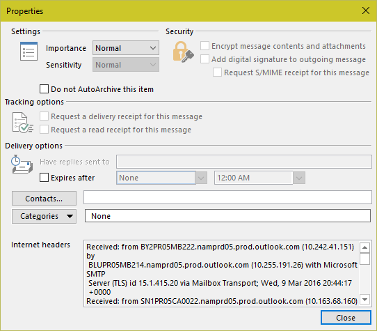 Properties dialog in Outlook 2010 and newer
