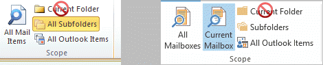 search all mail items, or all subfolders