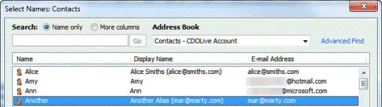 Email Display name in the address book
