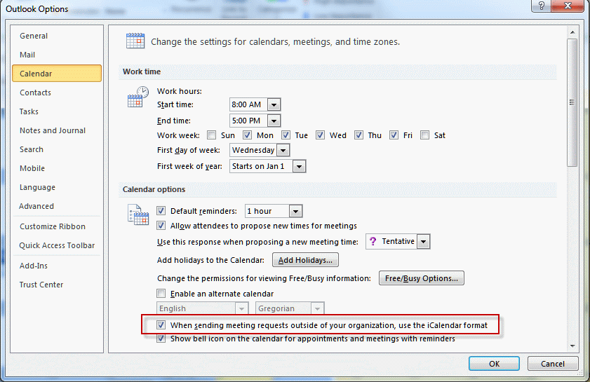 Configure Outlook to use icalendar format for Internet addresses