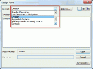 Clear the 'look in' folder list in choose form dialog
