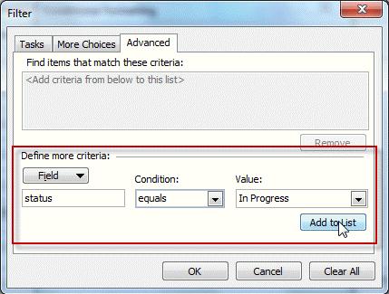 Advanced Filter dialog
