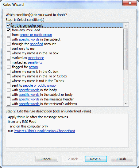 Run a Script rules for RSS feeds