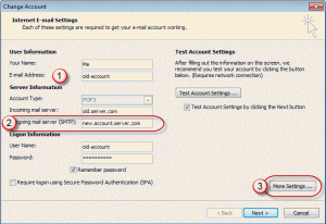 Change configuration of the email account settings