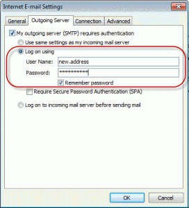 Use the correct authentication for the outgoing server