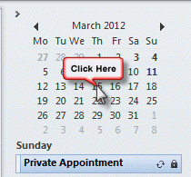 Click on any date in the Navigation Calendar