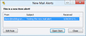 New item alert window in Outlook