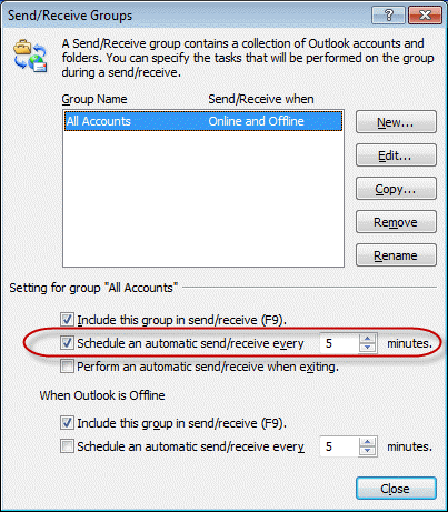 how to change frequency of send receive in outlook 2016