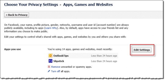 Change your Facebook app settings