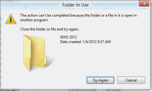 Windows folder is in user error message
