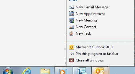 Windows 7 - Outlook 2010 Jump menu