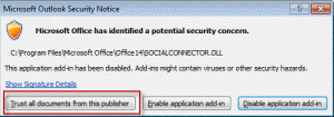 Outlook's Macro security alert comes up when it starts