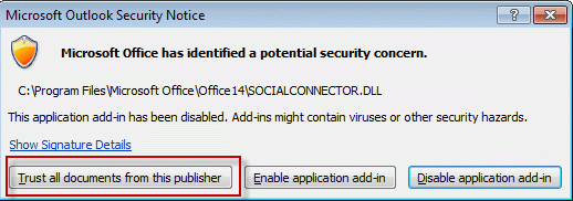 Tip 981: Social Connector Triggers Security Alert