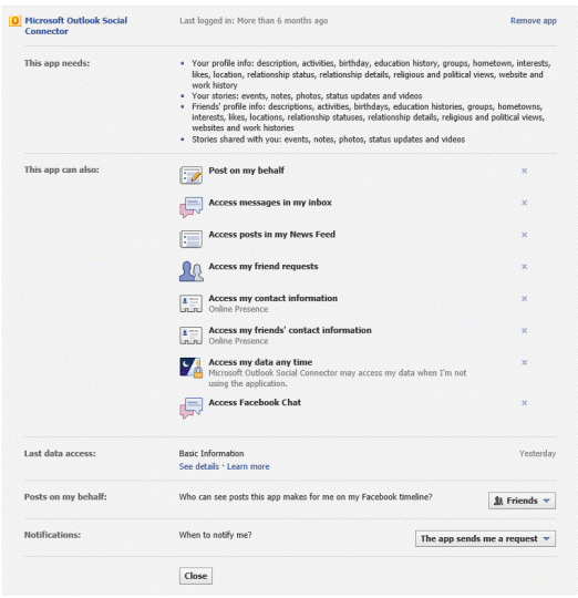 Facebook Social Connector Provider default permissions