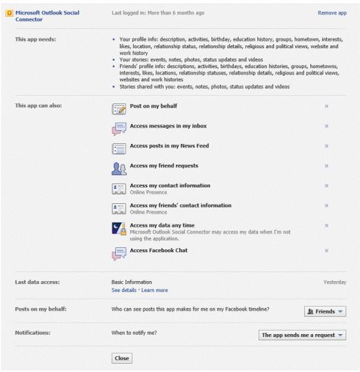Facebook Social Connector Provider default permissions