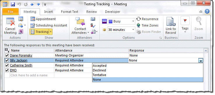 Enter meeting responses manually on the tracking tab