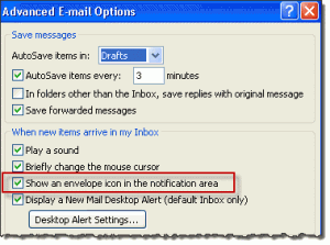 Disable the new message icon in Outlook 2007