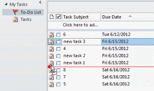 Drag tasks to reorder
