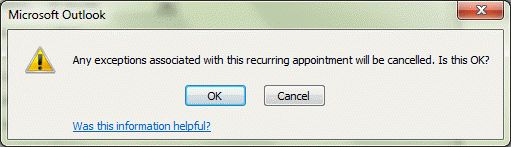 Microsoft Outlook's Series exception warning dialog