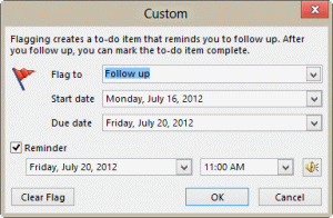 flag for follow-up reminder time for 'next week' flags