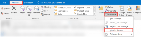 view in browser command in Outlook 2016