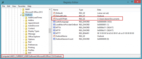 Add the forceostpath value to the registry
