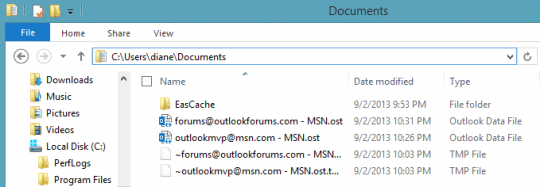 Ost files in a new location in Outlook 2013