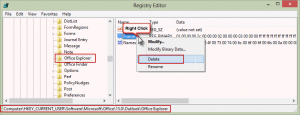 Office Explorer registry key