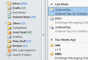 Outlook 2010 colorful icons
