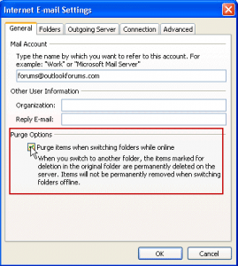 Set Outlook to automatically purge folders