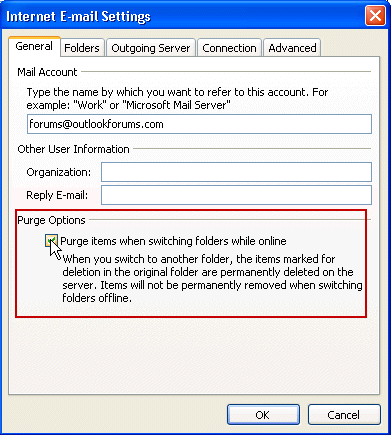 Set Outlook to automatically purge folders