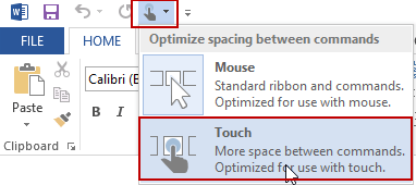Select Touch or Mouse mode