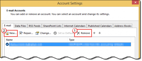 Remove the account and add a new one in Account Settings