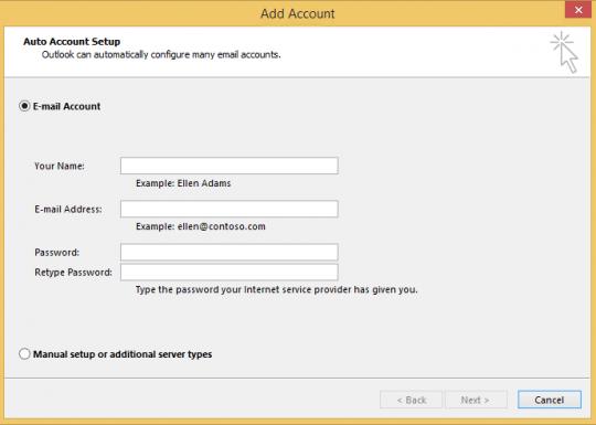 Use Auto Account Setup to create the account