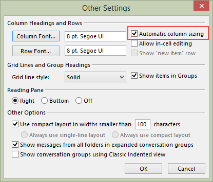 Turn off Automatic sizing