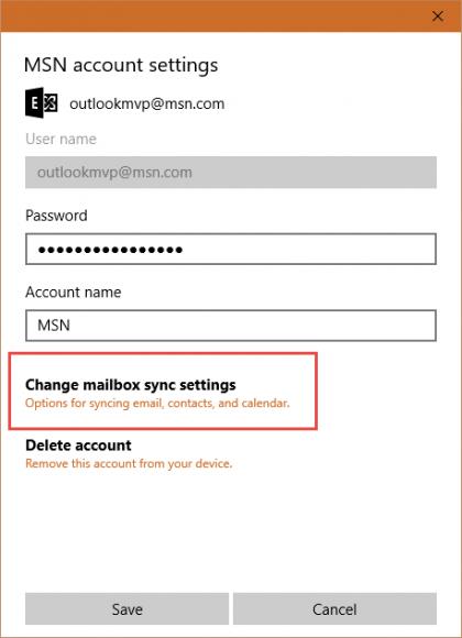 change sync settings