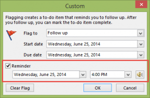 Choose a custom reminder time