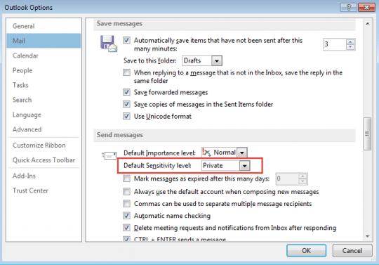 Default sensitivity option