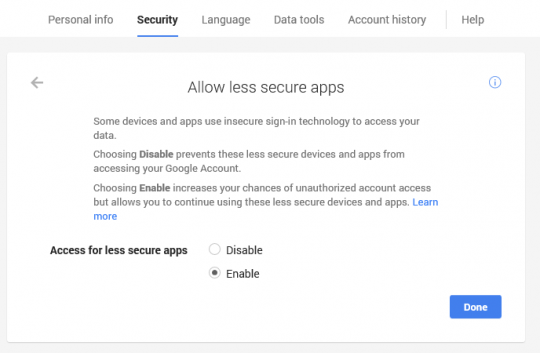 Allow access for less secure apps