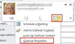 the hovercard in Outlook 2010