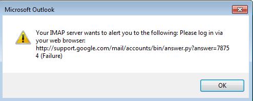 IMAP error message