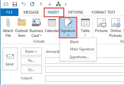 Insert Signature command