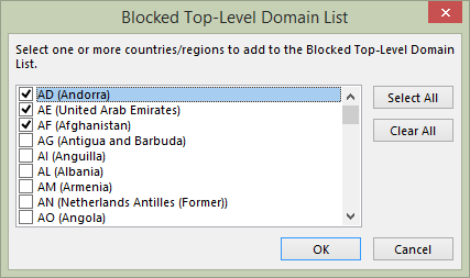 Block international domains in Outlook