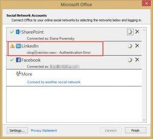 authentication error in Social connector